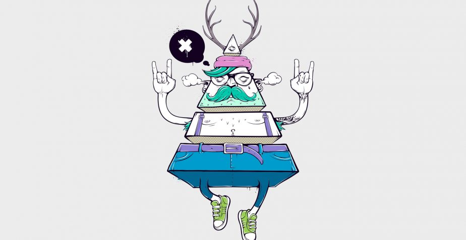 Triangle hipster men with deer